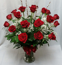 18 Red Roses Vased from Shaw Florists in Grand Rapids, MN
