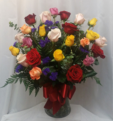 Two Dozen Roses Vased- Mix from Shaw Florists in Grand Rapids, MN