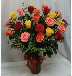 24 Roses Vased- Bright Mix from Shaw Florists in Grand Rapids, MN