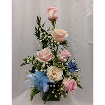 Half Dozen Pink Roses-Stylized from Shaw Florists in Grand Rapids, MN