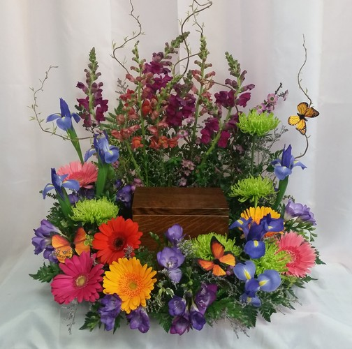 Butterfly Garden Urn Spray from Shaw Florists in Grand Rapids, MN