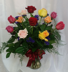 One Dozen Roses Vased- Mixed from Shaw Florists in Grand Rapids, MN