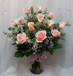 One Dozen Roses Vased- Pink from Shaw Florists in Grand Rapids, MN