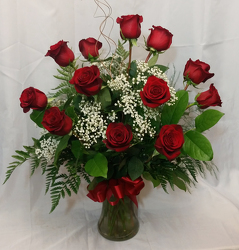 One Dozen Roses Vased- Red from Shaw Florists in Grand Rapids, MN