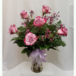 Half Dozen Roses Vased- Lavender from Shaw Florists in Grand Rapids, MN