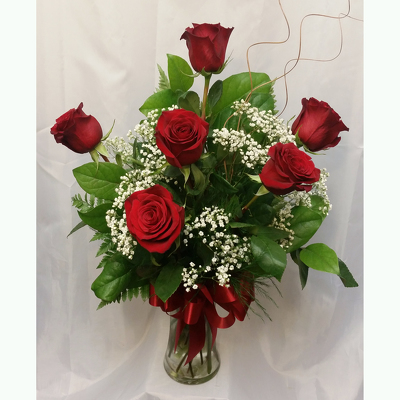 Half Dozen Roses Vased- Red from Shaw Florists in Grand Rapids, MN