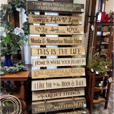 Wooden Engraved Signs from Shaw Florists in Grand Rapids, MN